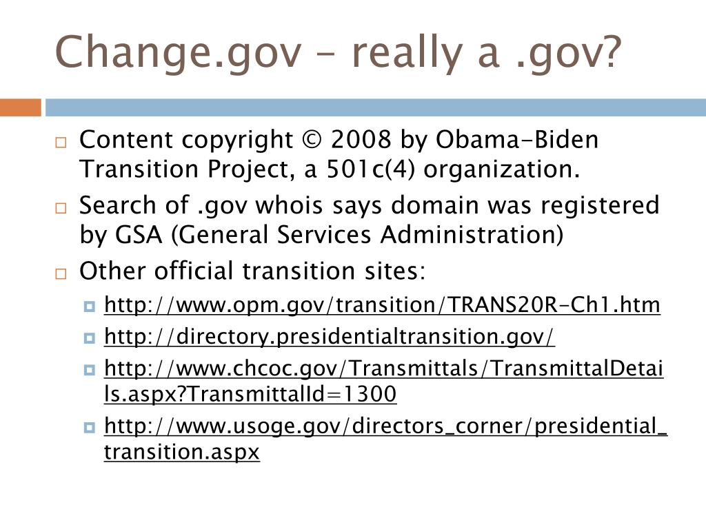 Change.gov – really a .gov?