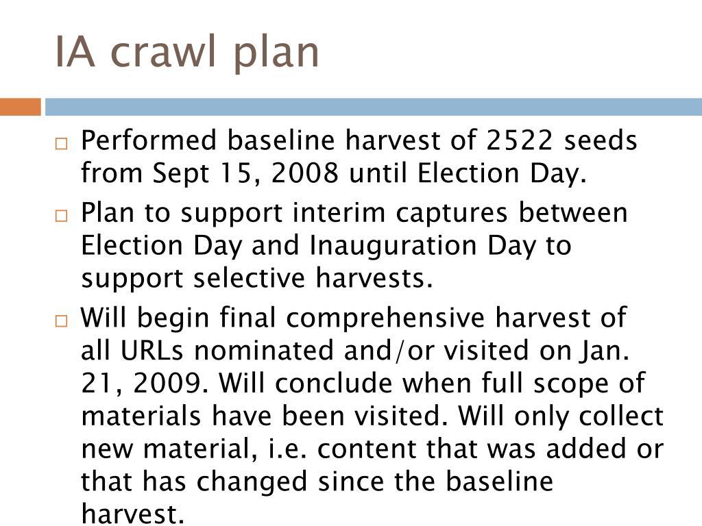 IA crawl plan
