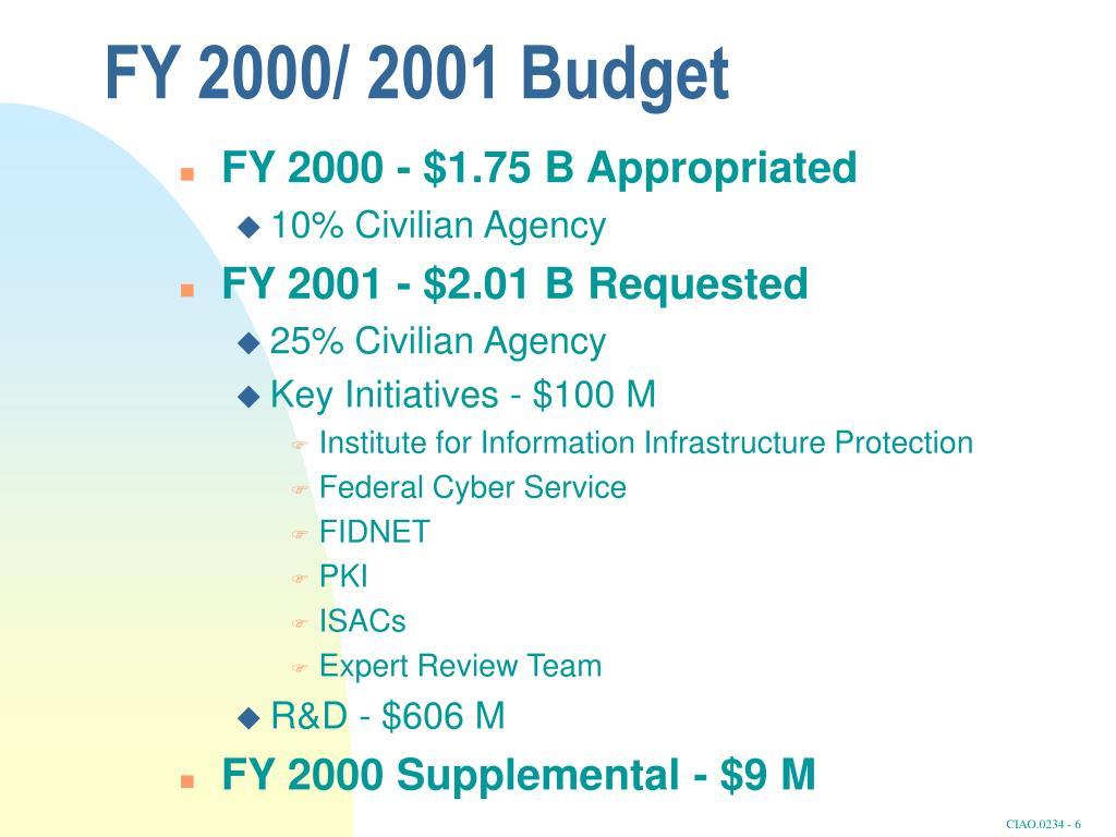FY 2000/ 2001 Budget