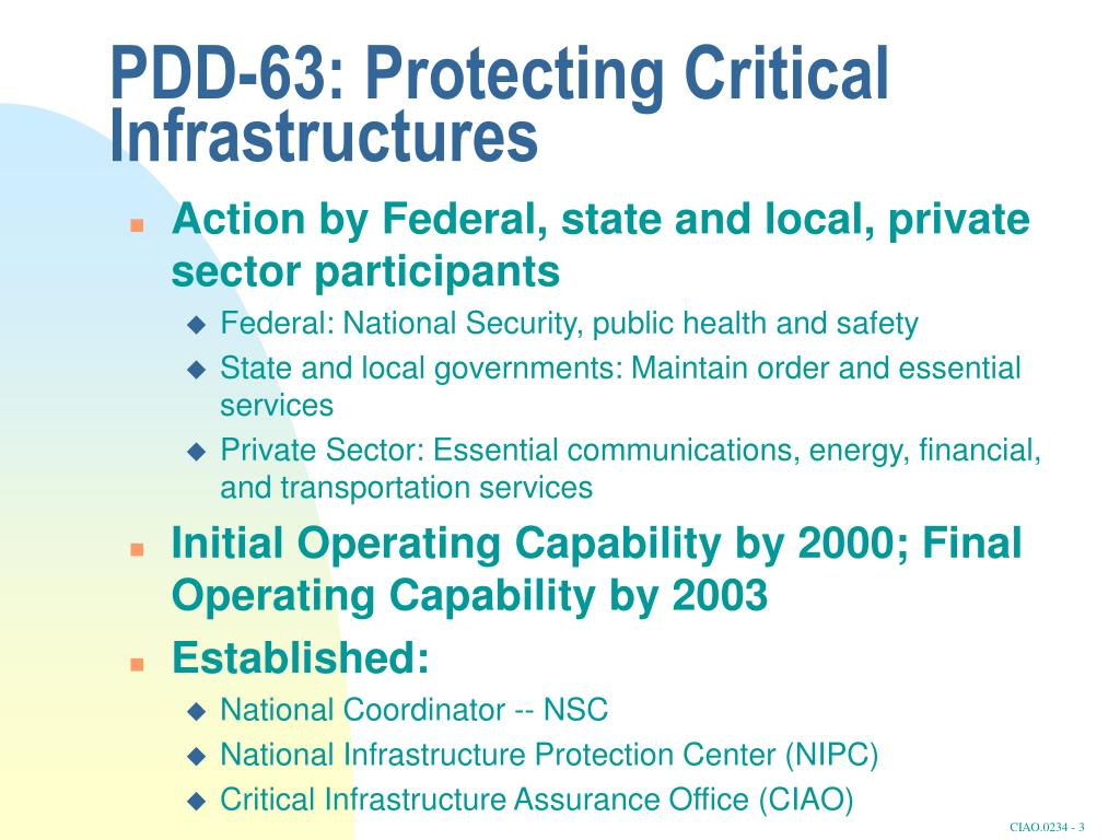 PDD-63: Protecting Critical Infrastructures
