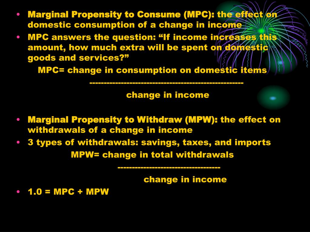 Marginal Propensity to Consume (MPC):