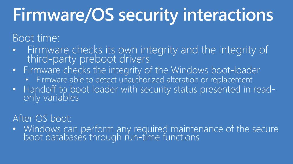 Firmware/OS security interactions