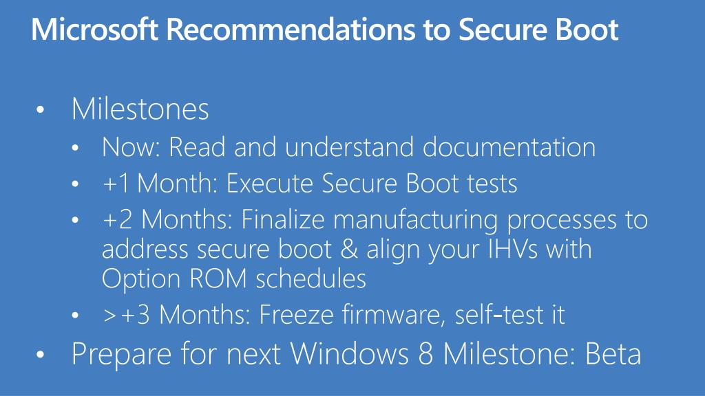 Microsoft Recommendations to Secure Boot