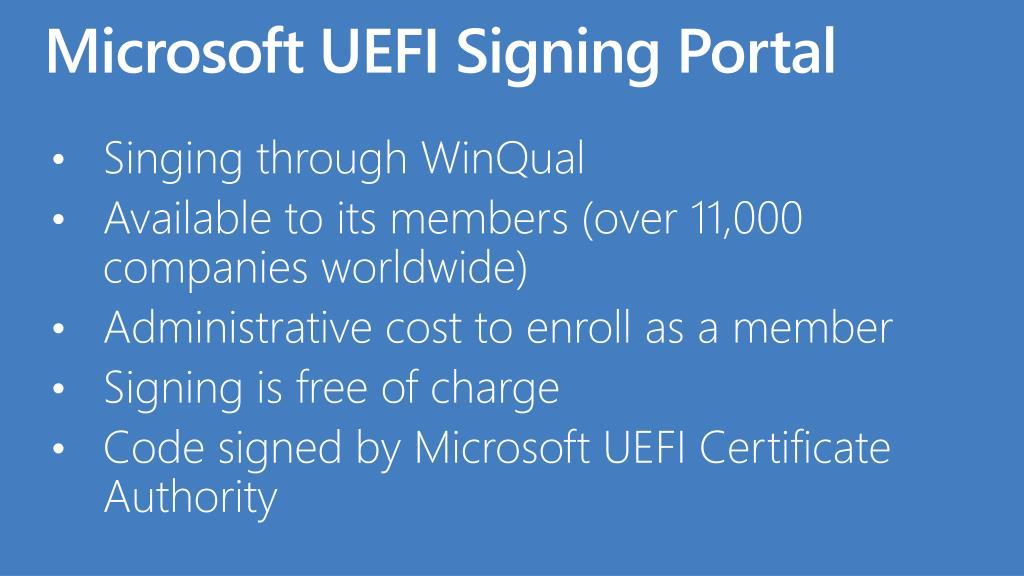 Microsoft UEFI Signing Portal