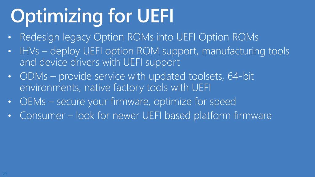 Optimizing for UEFI
