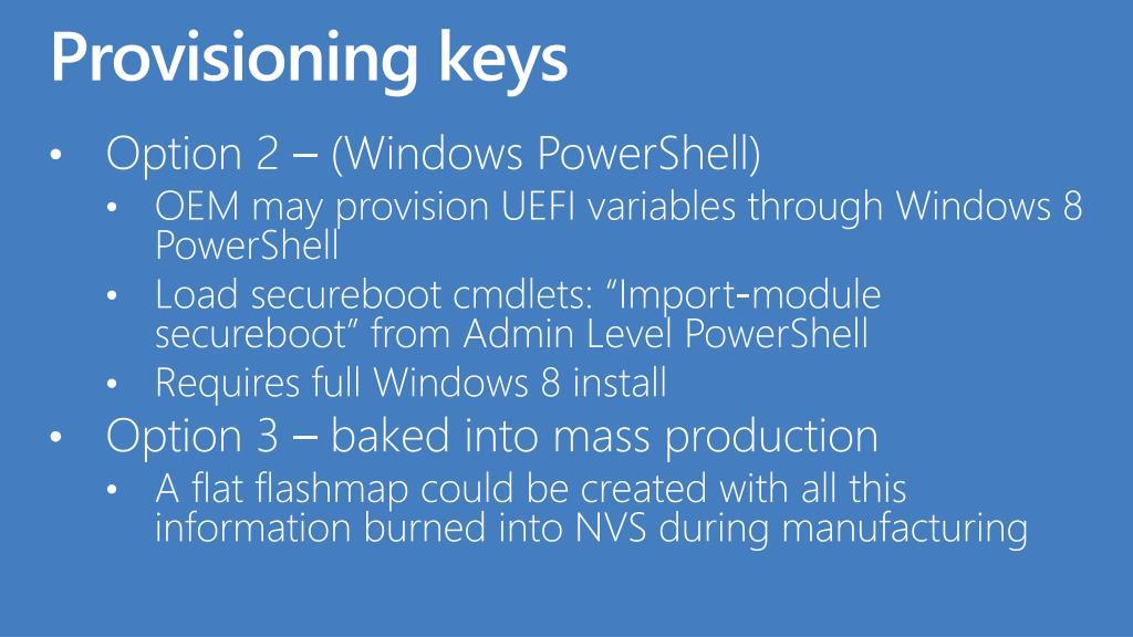 Provisioning keys