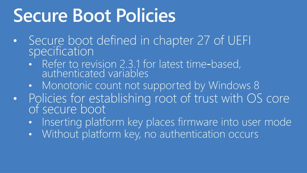 Secure Boot Policies