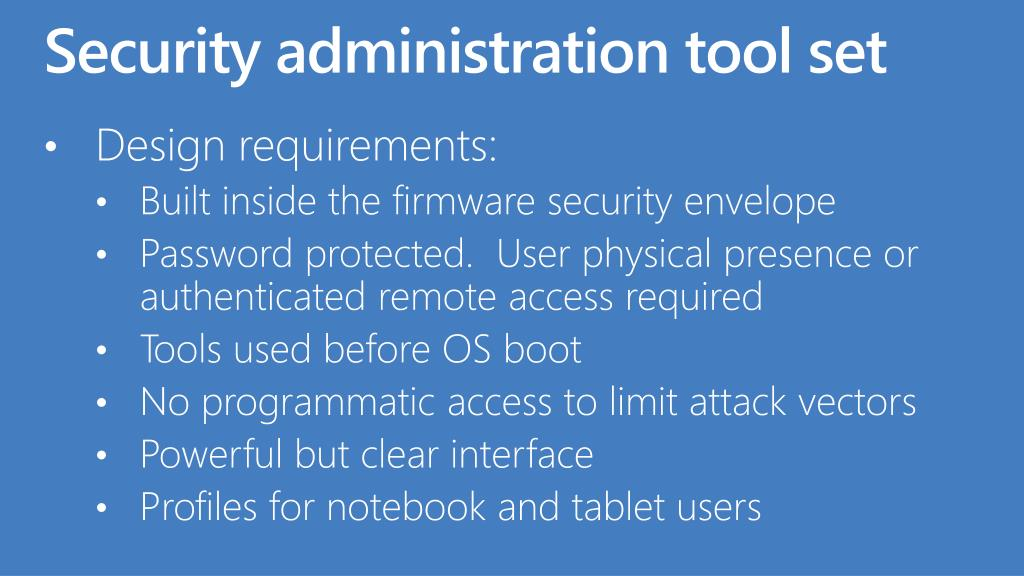 Security administration tool set