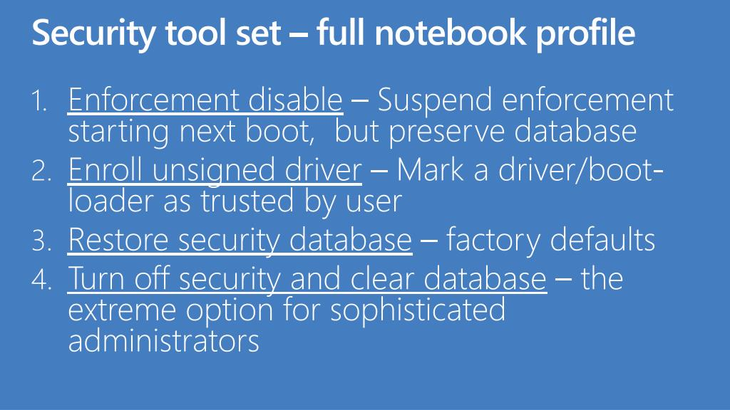 Security tool set – full notebook profile