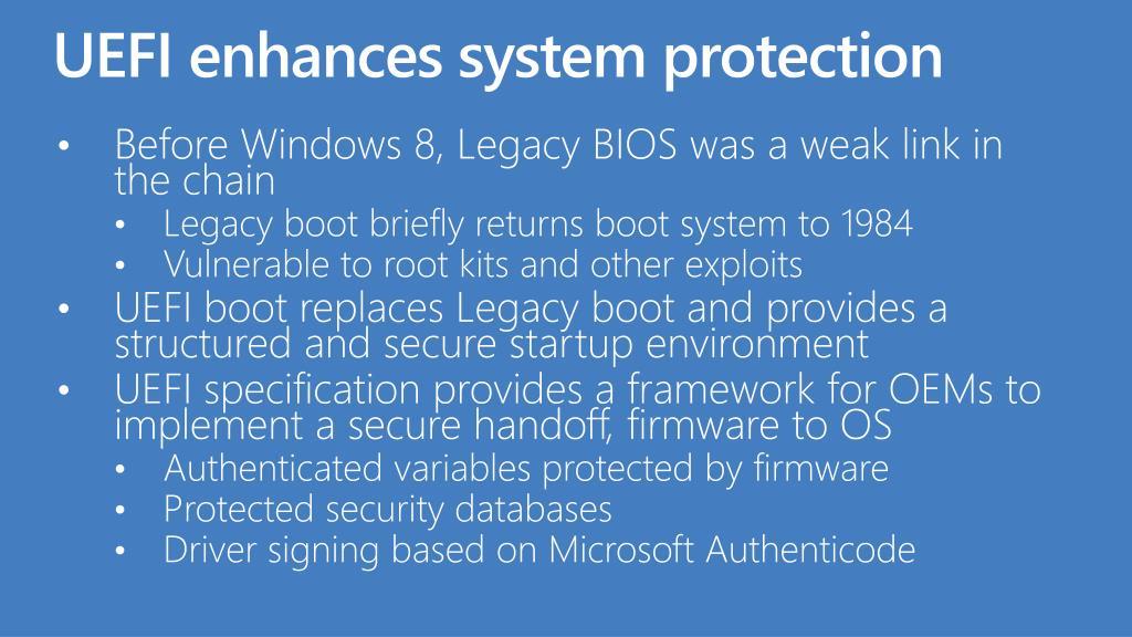 UEFI enhances system protection