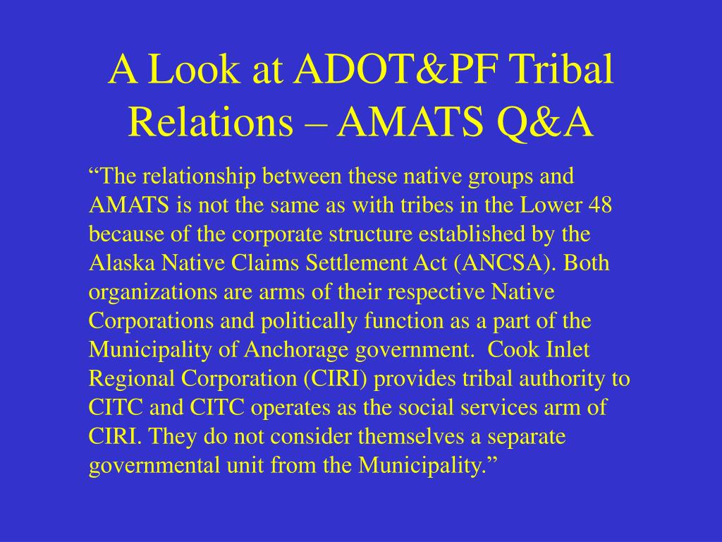 A Look at ADOT&PF Tribal Relations – AMATS Q&A