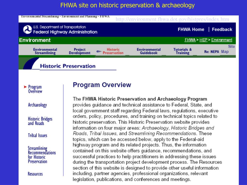 FHWA site on historic preservation & archaeology