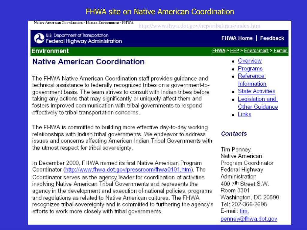 FHWA site on Native American Coordination