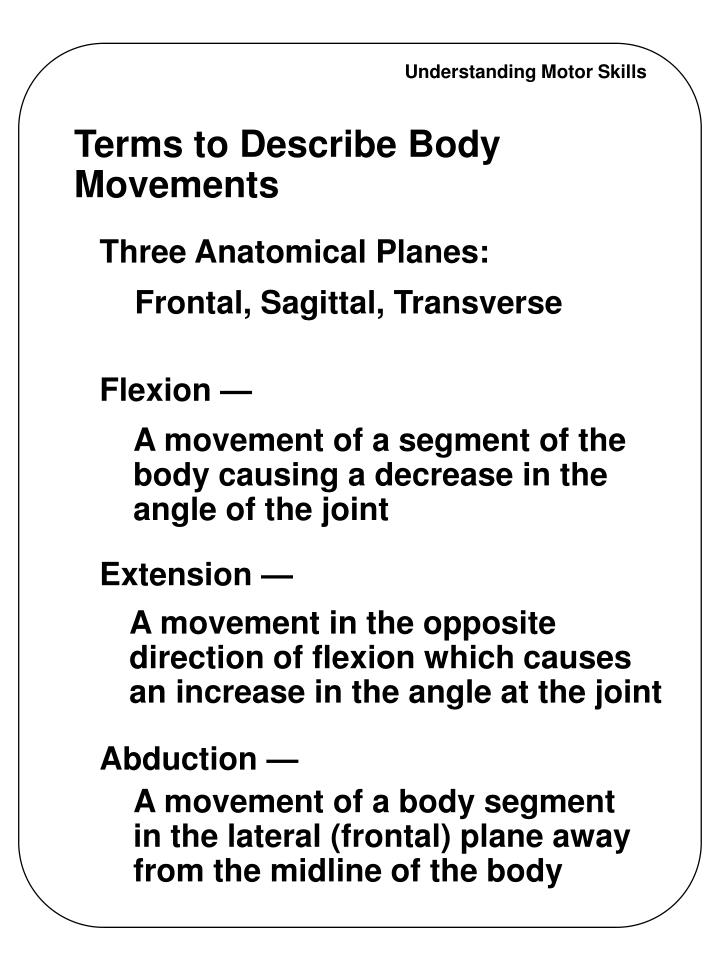 Terms to describe body movements l.jpg