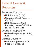 federal courts reporters