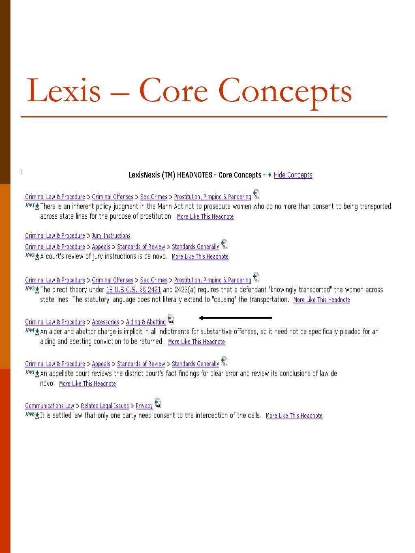 Lexis – Core Concepts