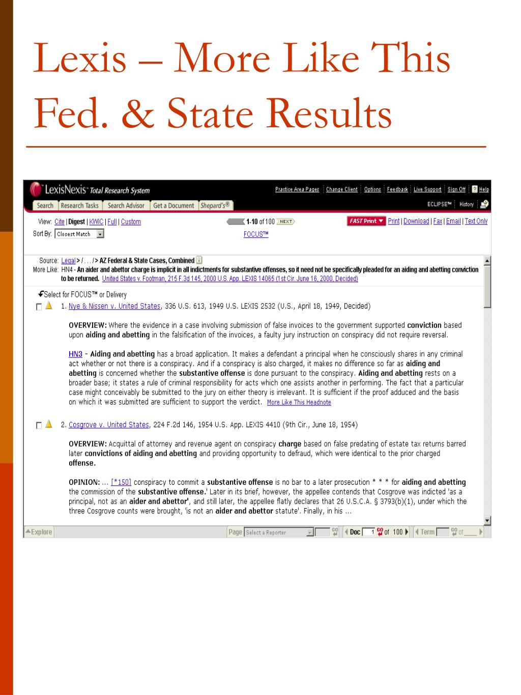 Lexis – More Like This Fed. & State Results