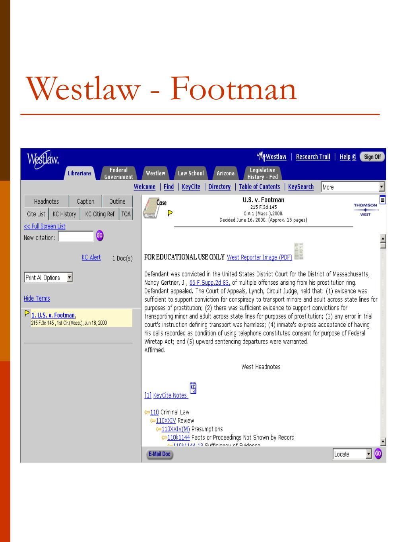 Westlaw - Footman