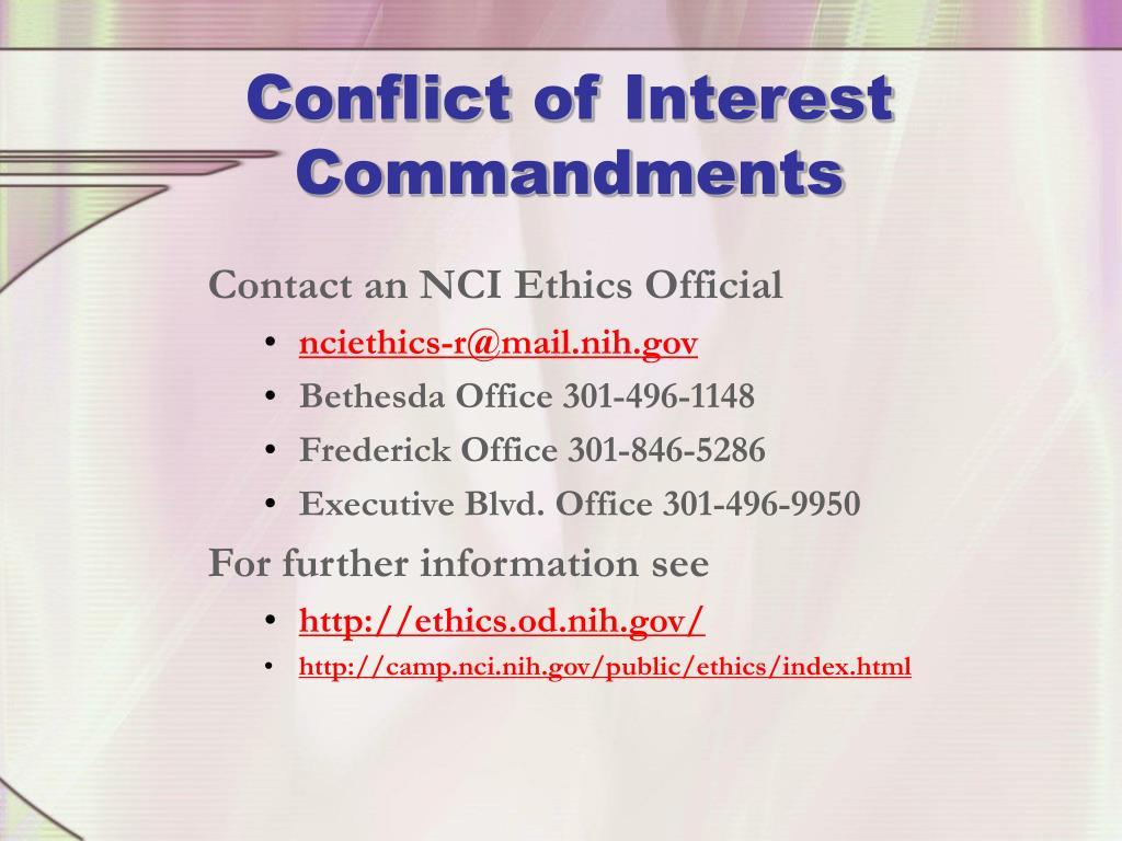 Conflict of Interest Commandments