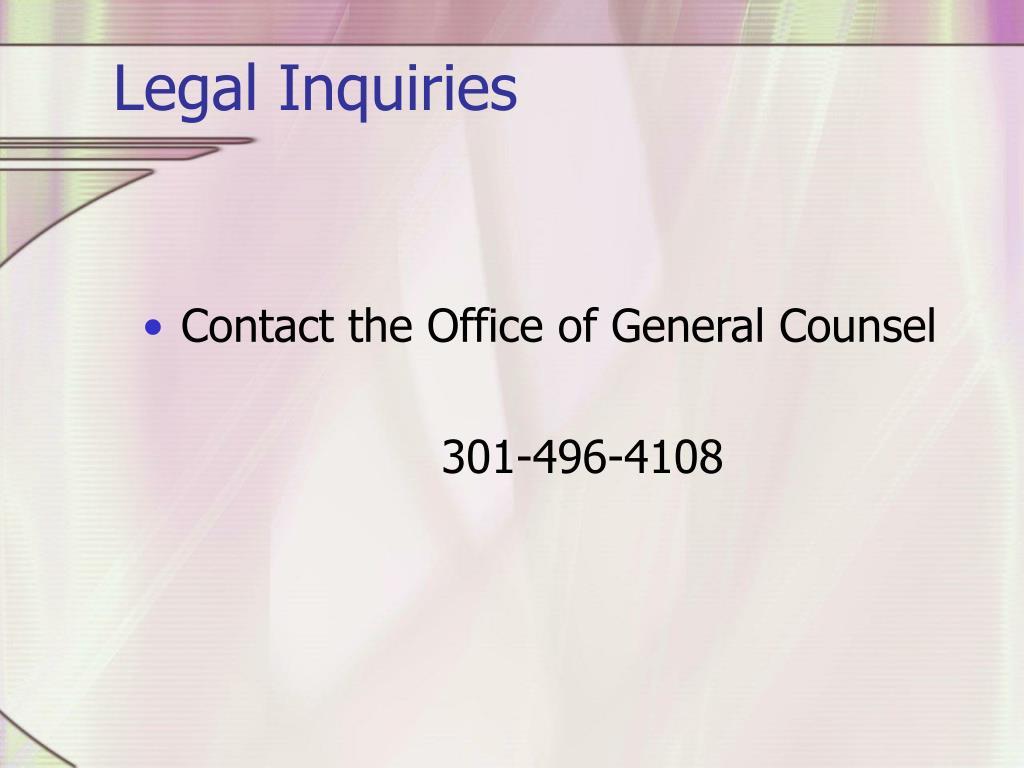 Legal Inquiries