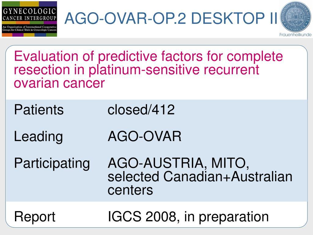 AGO-OVAR-OP.2 DESKTOP II