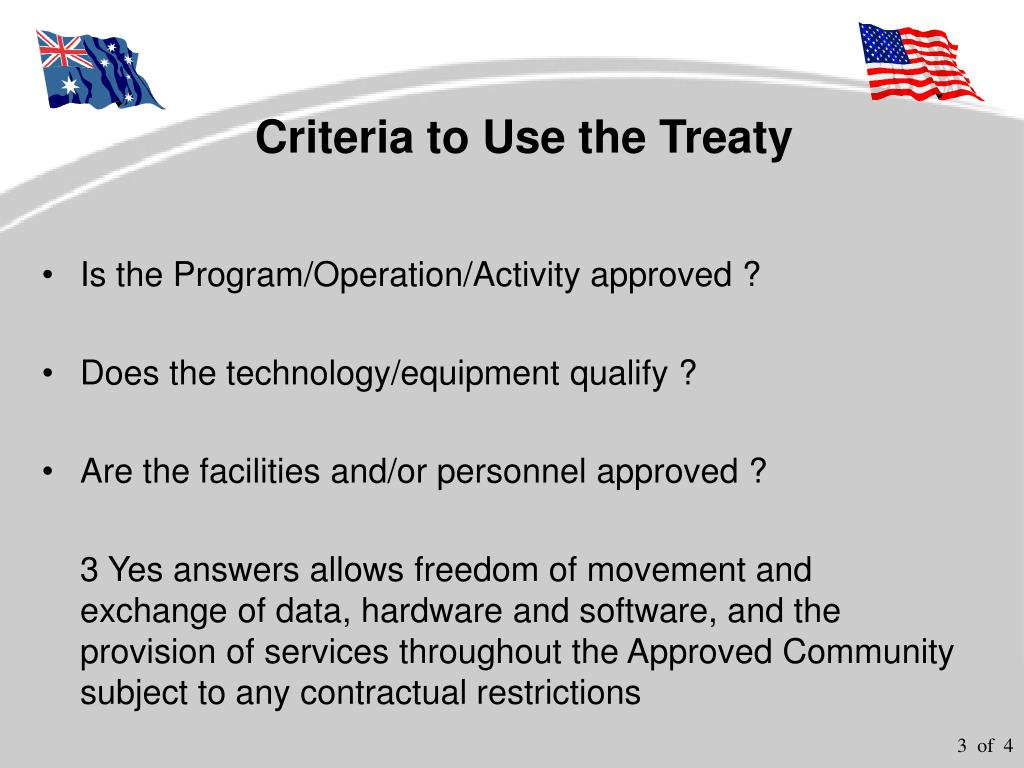 Criteria to Use the Treaty