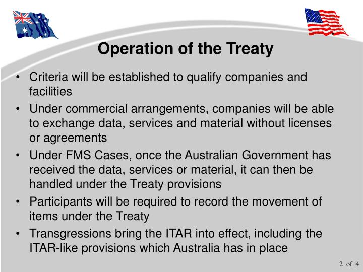Operation of the treaty