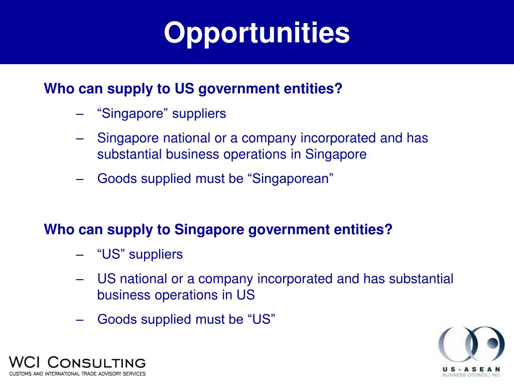 Who can supply to US government entities?