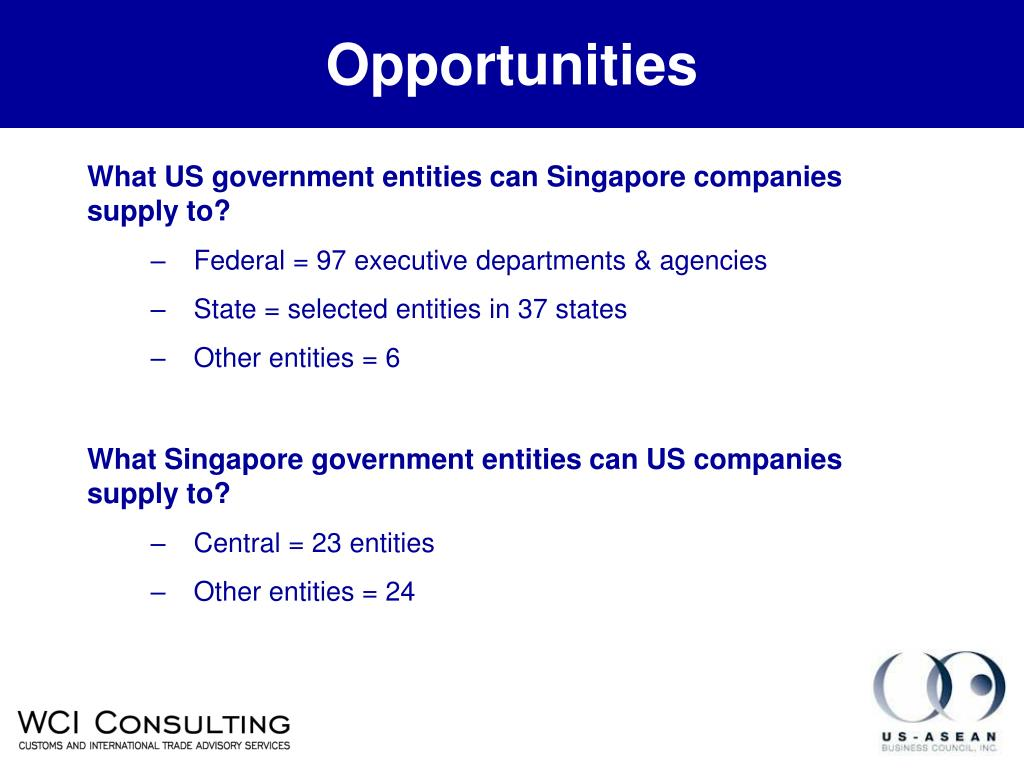 What US government entities can Singapore companies supply to?
