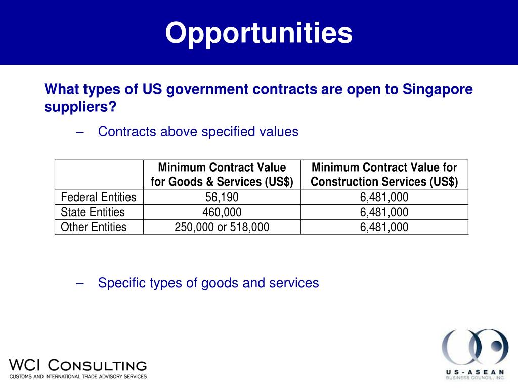 What types of US government contracts are open to Singapore suppliers?