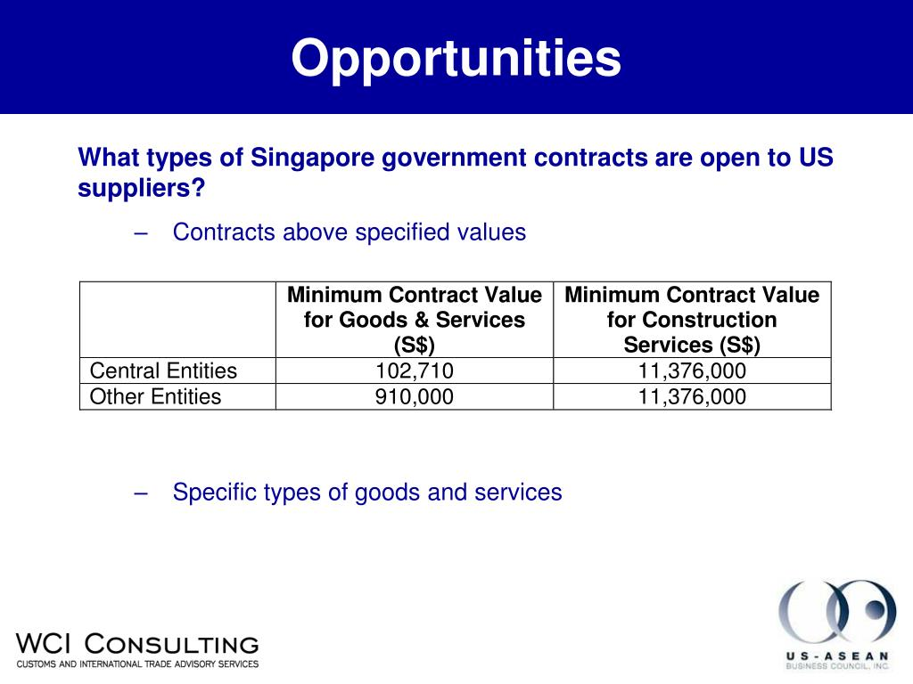 What types of Singapore government contracts are open to US suppliers?