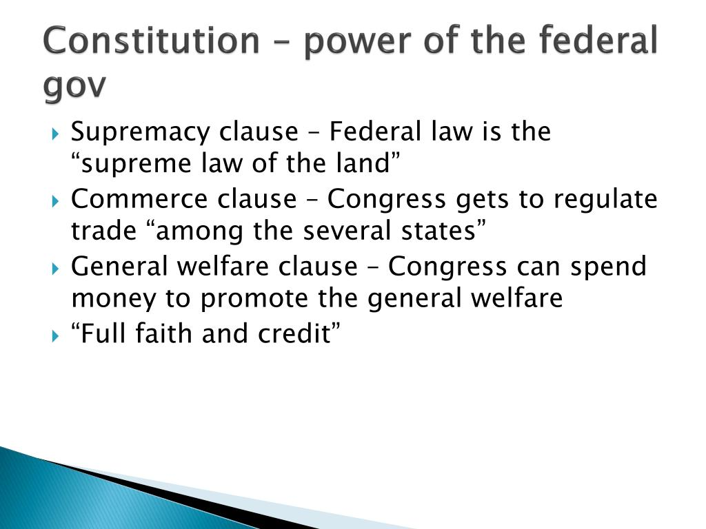 Constitution – power of the federal