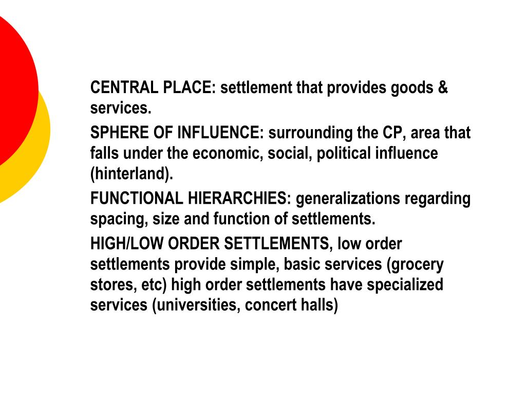 CENTRAL PLACE: settlement that provides goods & services.