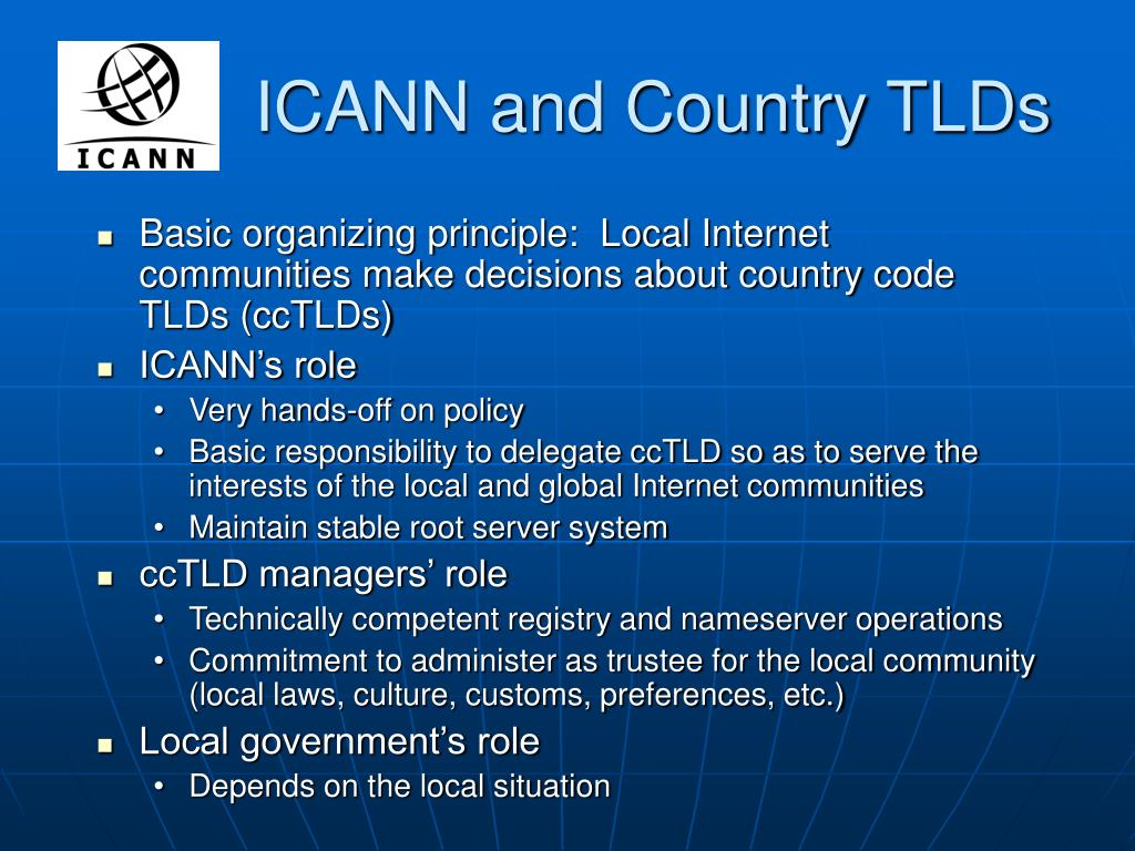 ICANN and Country TLDs