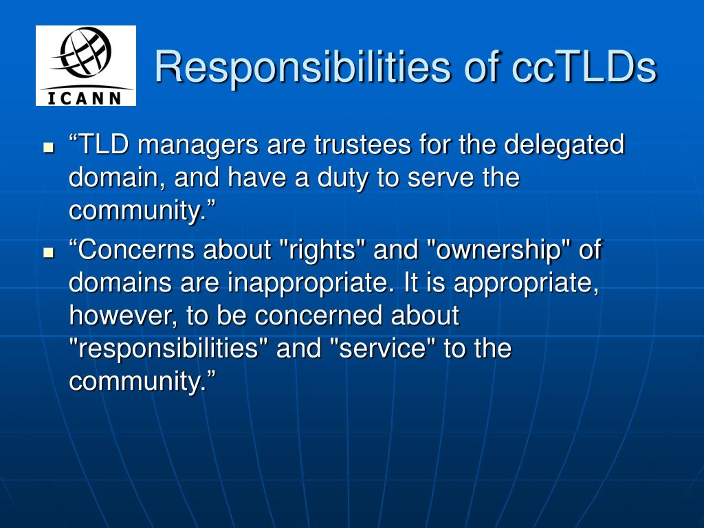 Responsibilities of ccTLDs