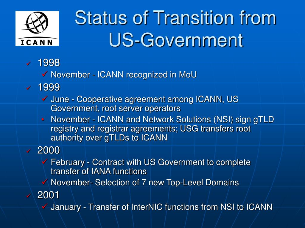 Status of Transition from US-Government