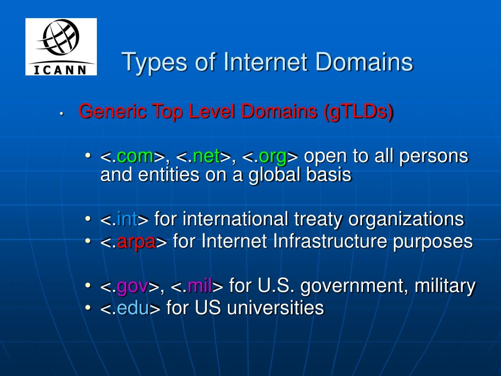 Types of Internet Domains