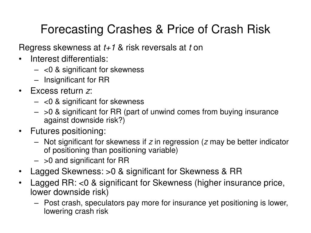 Forecasting Crashes & Price of Crash Risk