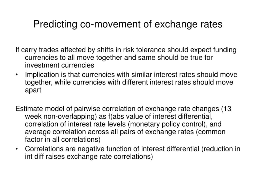 Predicting co-movement of exchange rates