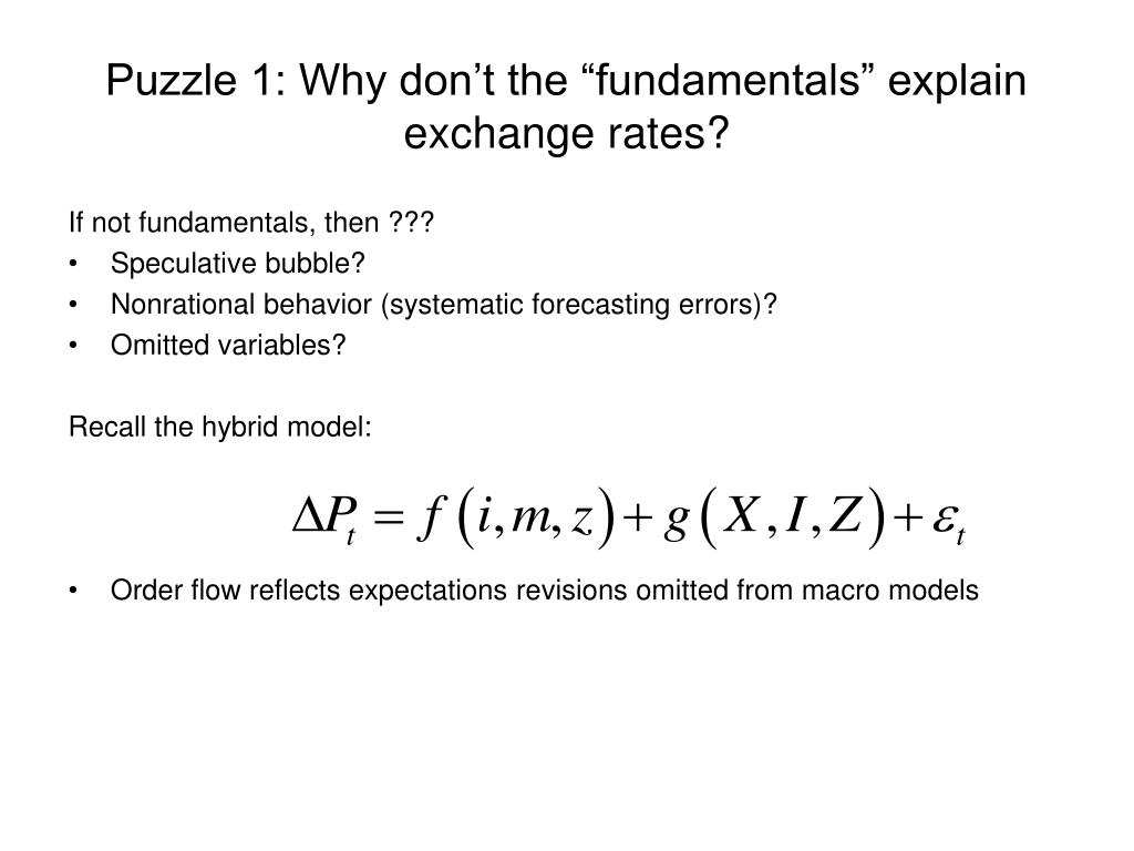 "Puzzle 1: Why don't the ""fundamentals"" explain exchange rates?"