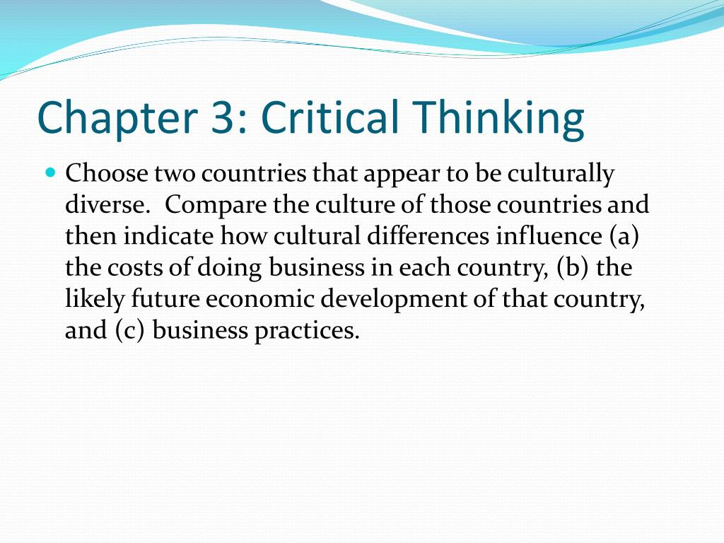 Chapter 3: Critical Thinking
