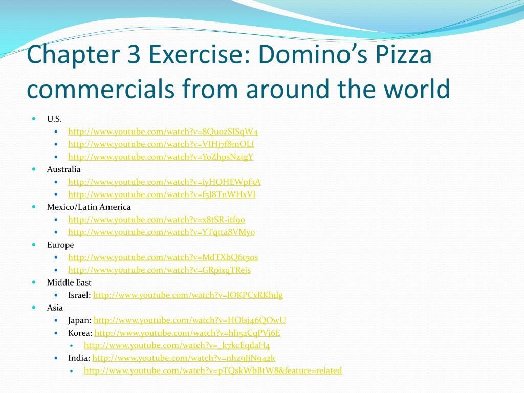 Chapter 3 Exercise: Domino's Pizza commercials from around the world