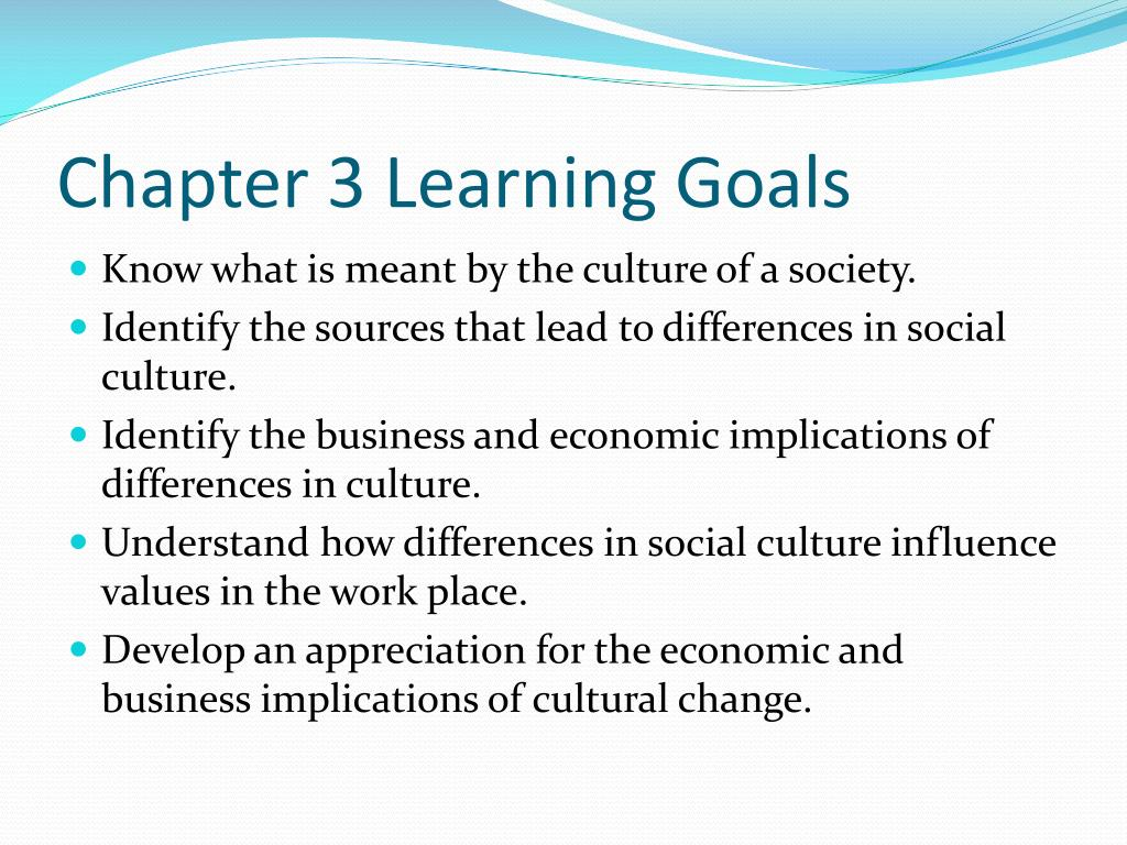 Chapter 3 Learning Goals