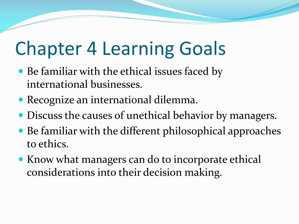 Chapter 4 Learning Goals