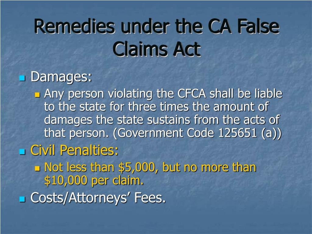 Remedies under the CA False Claims Act