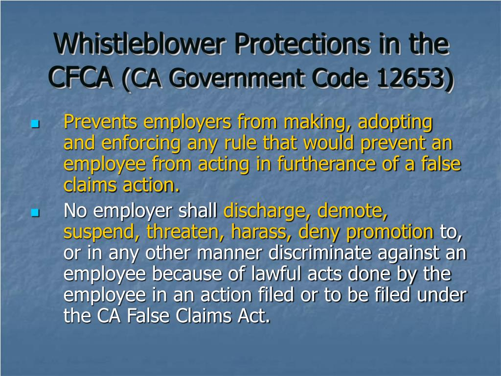 Whistleblower Protections in the CFCA