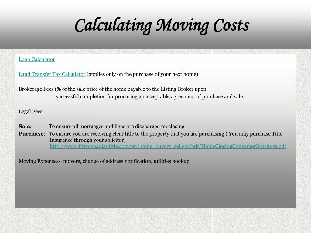 Calculating Moving Costs
