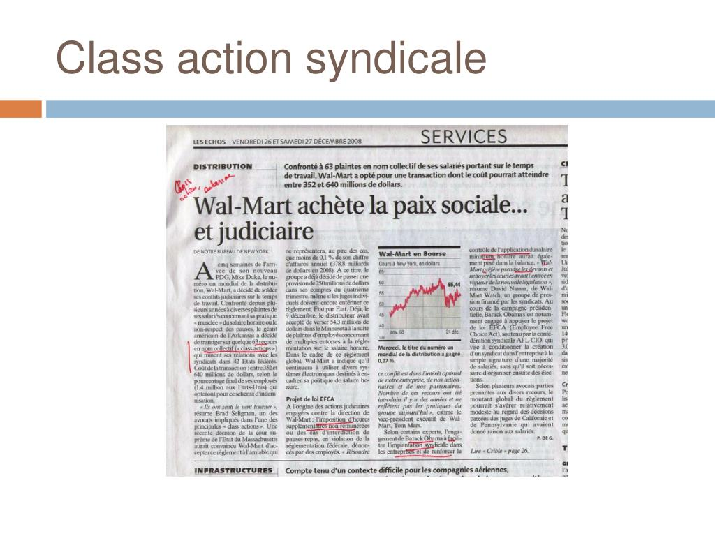 Class action syndicale