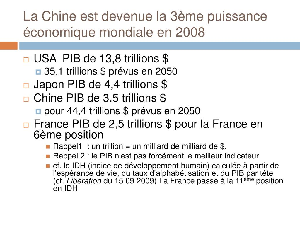 La Chine est devenue la 3ème puissance économique mondiale en 2008