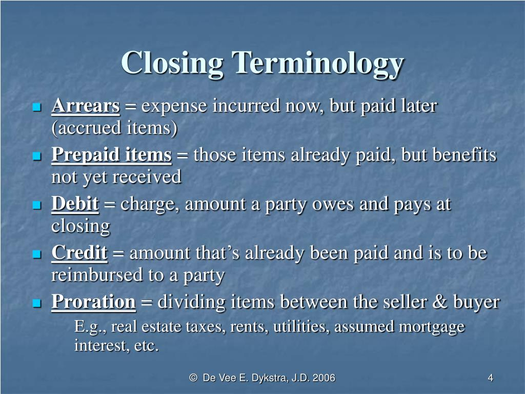 Closing Terminology